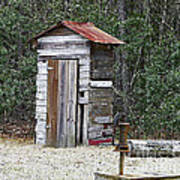 Old Time Outhouse And Pitcher Pump Poster