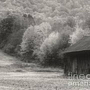 Old Tobacco Barn In Black And White Poster