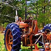 Old Tractor Digital Paint Poster