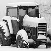 Old Tractor In The Snow Poster