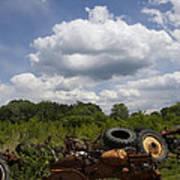 Old Tractor Junkyard Poster