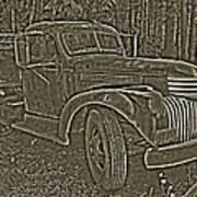 Old Truck In Sepia Poster