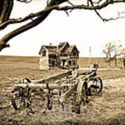 Old Wagon And Homestead Poster