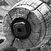 Old Wagon Wheel - Black And White Poster