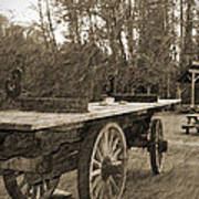 Old Wagon With Antique Water Wheel Poster