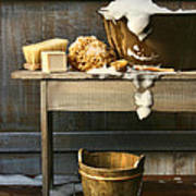 Old Wash Tub With Soap And Scrub Brushes Poster by Sandra Cunningham
