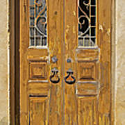 Old Weathered Brown Wood Door Of Portugal Poster