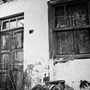 old weathered wooden door entrance to abandoned house 18 with window and cracked stucco walls in Los Banquitos Tenerife Canary Islands Spain Poster