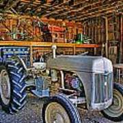 Old White Ford Tractor Poster