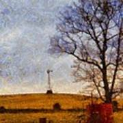 Old Windmill On The Farm Poster