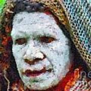 Old Woman In Traditional Shawl Poster