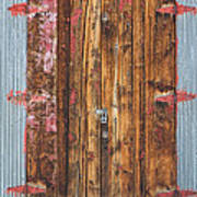 Old Wood Door With Six Red Hinges Poster