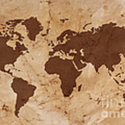 Old World Map On Creased And Stained Parchment Paper Poster