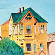 Old Yellow House In Downtown Oakland Poster