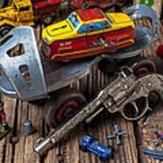 Older Roller Skate And Toys Poster