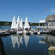 On A Beautiful Maine Summer Morning On The Island Of North Havenjunior Sailing Participants Rig Sailboats Poster by Downeast Yacht Shots- Ted Fisher Photography