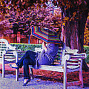 On A Bench Under An Umbrella In Autumn Poster
