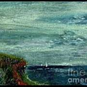 On A Bluff Over The Sea Looking At Sailboats Poster by Cathy Peterson