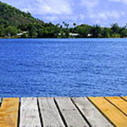 on the dock in Tahiti Poster
