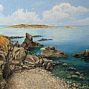 On The Rocks In The Old Part Of Sozopol Poster by Kiril Stanchev