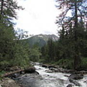 On The Shore Of A Mountain River With Mountain View Poster