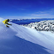 One Man Skiing In Powder High Poster