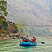 One Of Many Suspension Bridges Crossing The Seti River In Nepal Poster