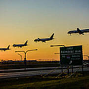 One Plane Landing At O'hare Poster