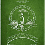 One Wheeled Vehicle Patent Drawing From 1885 - Green Poster