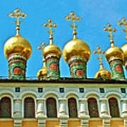 Onion Domes On Churches Of The Nativity And Deposition Of The Robe Inside Kreml Poster