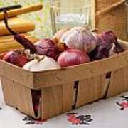 Onions And Garlic In A Crate Poster