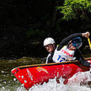 Open Canoe Whitewater Race - Panorama Poster