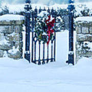 Open Gate In Snow With Wreath Poster