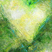 Open Heart Green Abstract Urban Heart Painting Poster