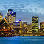 Opera House And Buildings Lit Poster