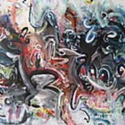 Orang Elblue Black Grey Abstract Landscape Art Poster