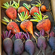 Orange And Purple Beet Vegetables In Wood Box Art Prints Poster
