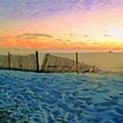 Orange Beach Sunset - The Waning Of The Day Poster