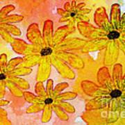 Orange Flowers Galore Digital Art Poster