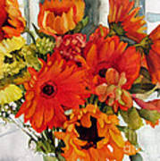 Orange Gerberas Poster