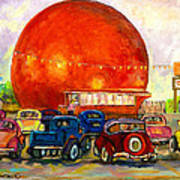 Orange Julep With Antique Cars Poster by Carole Spandau
