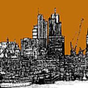 Dark Ink With Bright Orange London Skies Poster