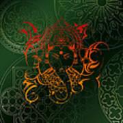 orange Lord Ganesha on green Mandala Poster
