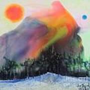 Orange Sun Blue Moon And Snow Poster