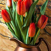 Orange Tulips In Copper Pitcher Poster by Garry Gay
