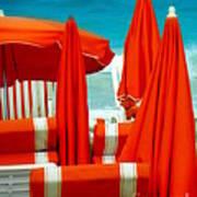 Orange Umbrellas Poster