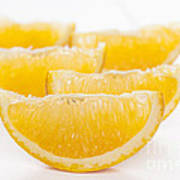 Orange Wedges On White Background Poster by Colin and Linda McKie