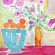 Oranges In Blue Bowl- Watercolor Painting Poster
