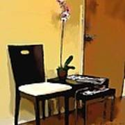 Orchid By A Chair Poster