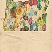 Oregon Map Vintage Watercolor Poster
